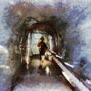 Inside An Ice Tunnel In Switzerland Poster