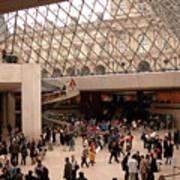 Inside Louvre Museum Pyramid Poster by Mark Czerniec