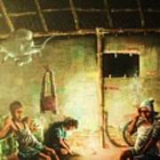 Inside Refugee Hut Poster by Pralhad Gurung