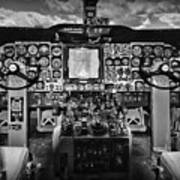 Inside The Cockpit Black And White Poster