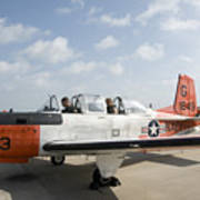 Instructor Pilot And Student In A T-34 Poster