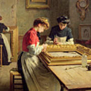 Interior Of A Frame Gilding Workshop Poster by Louis Emile Adan