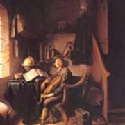 Interior With A Young Violinist 1637 Poster