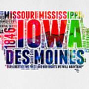 Iowa Watercolor Word Cloud  Poster