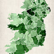 Ireland Watercolor Map Poster by Michael Tompsett