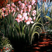 Iris By The Pond Poster