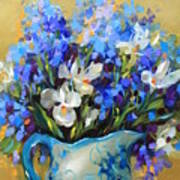 Irises And Blue Glass Poster
