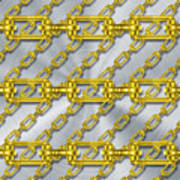 Iron Chains With Brushed Metal Texture Poster