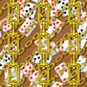 Iron Chains With Playing Cards Seamless Texture Poster