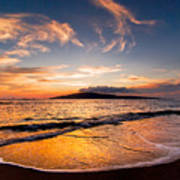 Island Gold - An Amazingly Golden Sunset On The Beach In Hawaii Poster