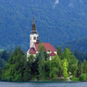 Island With Church On Bled Lake, Slovenia Poster