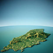 Isle Of Man 3d View South-north Natural Color Poster