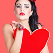 Isolated Pin Up Woman Holding A Heart Shaped Sign Poster