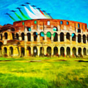 Italian Aerobatics Team Over The Colosseum Poster