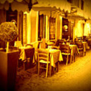 Italian Cafe In Golden Sepia Poster