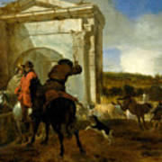 Italian Landscape With Horsemen By A Spring Poster