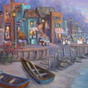 Italy Tuscan Decor Painting Seascape Village By The Sea Poster
