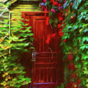 Ivy Surrounded Old Outhouse Poster