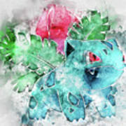 Pokemon Ivysaur Abstract Portrait - By Diana Van Poster