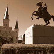 Jackson Square In New Orleans - Sepia Poster