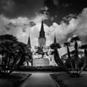 Jackson Square Sunrise In Black And White Poster
