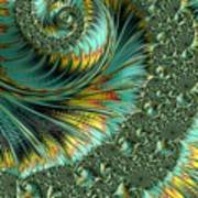 Jade And Yellow Fractal Spiral Poster