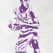 James Worthy Los Angeles Lakers Pixel Art Poster