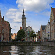 Jan Van Eyck Square With The Poortersloge From The Canal In Bruges Poster
