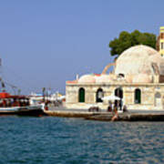Janissaries Mosque And Caique In Chania Poster