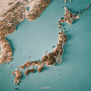 Japan 3d Render Topographic Map Neutral Border Poster