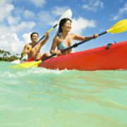 Japanese Couple Kayaking Poster