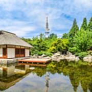 Japanese Garden In Park With Tower Poster