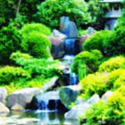 Japanese Garden Waterfall Poster