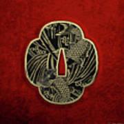 Japanese Katana Tsuba - Golden Twin Koi On Black Steel Over Red Velvet Poster