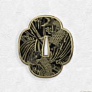Japanese Katana Tsuba - Golden Twin Koi On Black Steel Over White Leather Poster