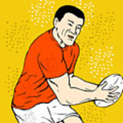 Japanese Rugby Player Passing Ball Poster