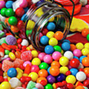 Jar Spilling Bubblegum With Candy Poster