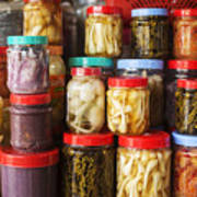 Jars Of Asian Style Pickles In Kep Market Cambodia Poster