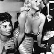 Jayne Mansfield Hollywood Actress And, Italian Actress Sophia Loren 1957 Poster