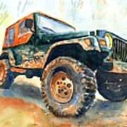 Jeep Wrangler Watercolor Poster