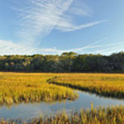 Jekyll Island Marsh High Tide And Sky Poster