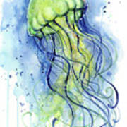 Jellyfish Watercolor Poster