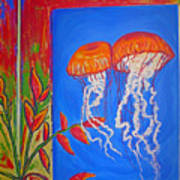 Jellyfish With Flowers Poster