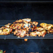 Jerk Chicken On Grill Poster