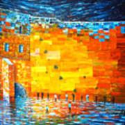 Jerusalem Wailing Wall Original Acrylic Palette Knife Painting Poster