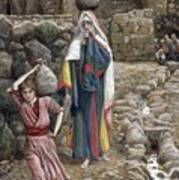 Jesus And His Mother At The Fountain Poster