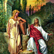 Jesus And The Woman At The Well Poster