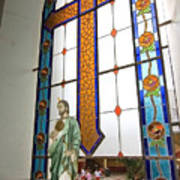 Jesus In The Church Window And School Girls In The Background Poster