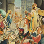 Jesus Removing The Money Lenders From The Temple Poster by James Edwin McConnell