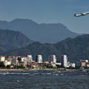 Jet Plane Taking Off From Puerto Vallarta Airport With Pacific O Poster